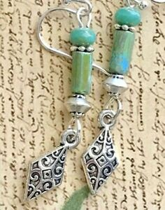Etched Silver and Turquoise Picasso Bead Dangle Earrings.  Boho Chic.