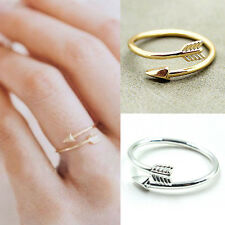 Women Girl Rings Gold Silver Adjustable Arrow Open Knuckle Ring Jewelry EB