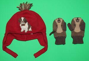12 18 24 EUC Gymboree SNOW DAYS Red ST BERNARD Sweater HAT GLOVES Mittens Boys
