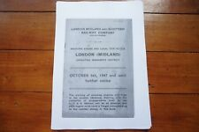 1947 Fascimilie London Midland LMS Railway Trip Notice Timetable
