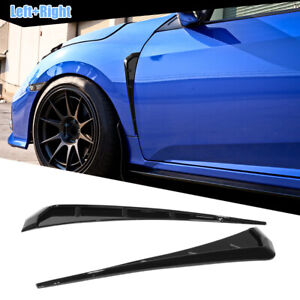 Pair Universal Glossy Black Car Side Fender Vent Air Wing Cover Trim Accessories