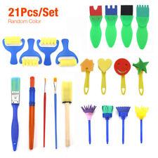 New listing 21Pcs Children Kids Painting Brushes Set Paint Apron Sponge Toys Crafts Toddler
