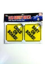 2 x PACK Baby a bordo di sicurezza dei bambini auto firmare con Stay-Put VENTOSE Auto Firmare