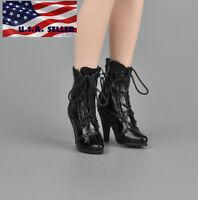 "1/6 Women Ankle Boots For 12"" Phicen Hot Toys Kumik Female Figure USA"