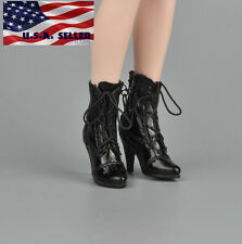"1/6 Women Ankle Boots For 12"" Phicen Hot Toys Kumik Female Figure USA"