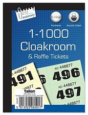 Cloakroom Raffle Tickets - Book of 1000 Numbered Security Coded (loc.D4)