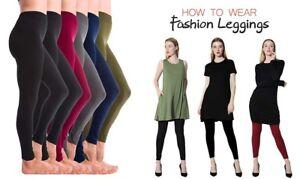 6 Women's High Waist Fleece Leggings WARM Jeggings skinny full length PLUS SIZE