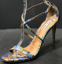 Steve Madden Feliz Women's Sandal Blue Multi Snake Print Open Toe Size US 10 M