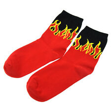 Hip Hop Punk Rok Red Flame Knitting Socks Skateboard Black in Tube Sock Unisex