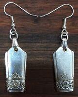 Antique Vintage Spoon cutoff Silver Rose Oneida Earring Silverware Plate Jewelry