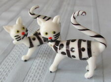 Lot of 3 Black & White Glass Cats - New