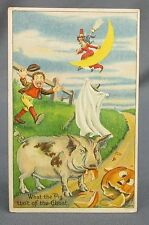Antique Halloween Postcard Angry Pig Eating Jack O Lantern Scarecrow Ghost Bien