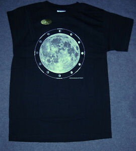 MOON PHASES  ASTRONOMY T-SHIRT. YOUTH KIDS LARGE. GLOWS IN DARK. NEW IN PACKAGE,