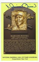 Autographed Mariano Rivera Hall of Fame Gold Yellow Plaque Post Card With COA