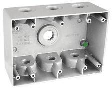 "2-5/8"" Deep Three (3) Gang Weatherproof Electrical Box with (7) 1/2"" Holes"