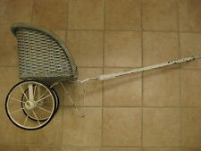 Blue ANTIQUE WICKER Baby Size DOLL RICKSHAW STYLE STROLLER RUBBER WHEEL Carriage