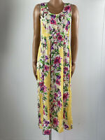 CHANGES BY TOGETHER Yellow Floral Crepe Crinkle Maxi Summer Dress 12