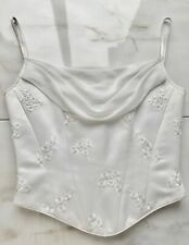 AUGUSTA JONES White Floral Embellished Fairytale Wedding Corset Bodice Top S 10