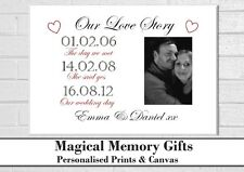 love story personalised photo wedding engagement print gift A4 couple boyfriend