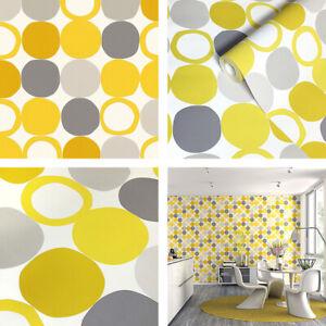 Yellow & Greys, Retro 60's Design, Dots & Loops Wallpaper