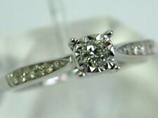 9CT WHITE GOLD DIAMOND SOLITAIRE RING WITH DIAMOND SHOULDERS