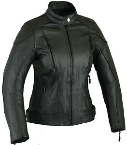 Womens Summer Impact Leather Motorbike Protection Jacket Ladies Motorcycle Coat