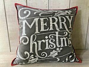 Pottery Barn Merry Christmas Chalkboard Pillow w/Insert