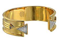 NWT House of Harlow Gold-tone Metal-Clear Rhinestones-Cuff Bangle Bracelet
