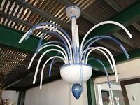 Lampadario in vetro di Murano WATERFALL White Blue chandelier 6 luci artigianale