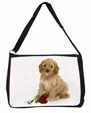 Cockerpoodle Puppy with Red Rose Large Black Laptop Shoulder Bag Scho, AD-CP6RSB