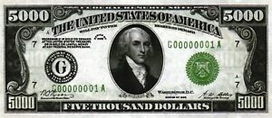 REPRODUCTION! $5000 DOLLARS 1934 MADISON UNITED STATES OF AMERICA BANKNOTE BILL