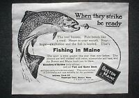 """(757L)RAILROAD BOSTON & MAINE FISHING TROUT BASS FISH 1910 ADVERT REPRINT 11X14"""""""