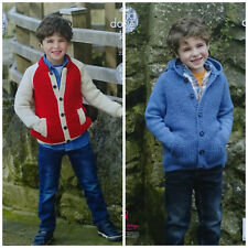 KNITTING PATTERN Boys Stand Neck or Hooded Jacket with Pockets DK King Cole 4924