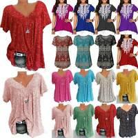 Plus Size Womens Boho Tunic Tops Short Sleeve Summer Ladies Loose T-Shirt Blouse