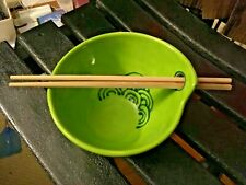 RARE Signed Art Pottery Asian Green Rice Noodle Bowl w Hole for chopsticks NICE!