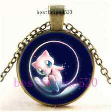 Vintage Pokemon Mew Photo Cabochon Glass Bronze Chain Pendant Necklace