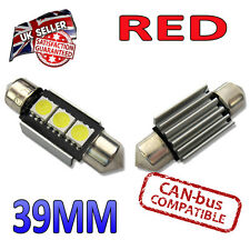2 x Red 39mm Canbus LED Festoon Bright Interior Plate Lights C5W 239 3 SMD Bulbs