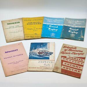 Bundle Of Classic Car Shedule Of Repair Charges Books WOLSELEY/ZEPHYR/MORRIS