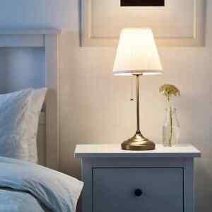 New Ikea ÅRSTID Table Desk Bedside Unique Traditional Lamp LED Light Brass/White
