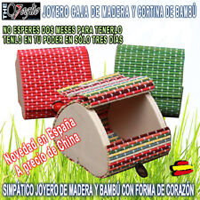 Joyero Caja de Madera Corazón y Cortina de Bambú Wooden Box Bamboo Jewelry Maker
