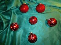~  6 alte Christbaumkugeln Glas rot Gold Glitzer Christbaumschmuck Vintage CBS ~