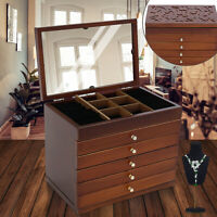 Large Wood Jewelry Cabinet Armoire Box Storage Case Chest Stand Organizer
