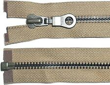 "YKK ZIP DARK BEIGE/TAN 29""/74CM METAL BLACK TEETH OPEN END HEAVY DUTY FREE P&P"
