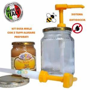KIT Dispenser Dosatore Miele con 2 Capsule Adattabili per vaso miele 1 - 1/2 kg