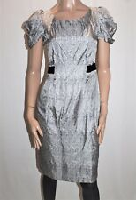 VERONIKA MAINE Brand Grey Printed Short Sleeve Fitted Dress Size 8 BNWT #TD102