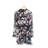 N/Nicholas Womens Size 8 Black Floral Silk Sheer Long Sleeve Peasant Dress
