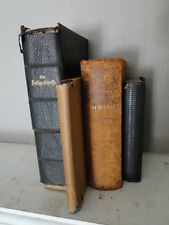 Collection of Antique German Religious Books Leather Bible!