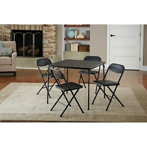 Folding Dining Set 5-Piece Kitchen Card Game Party Sturdy Table Foam Pad Chairs