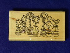 Stampin Up Potted Trees Bush Topiary Planter Pot Plant Flowers Rubber Stamp