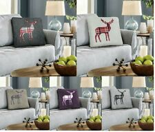 Luxury 4 Pack STAG Embroidered Cushion Covers Teddy Soft Square Cushion Covers
